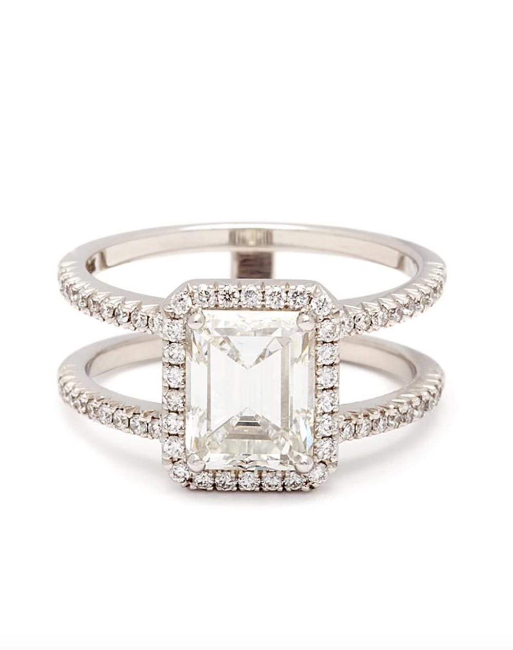double banded emerald cut engagement ring