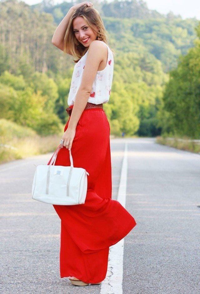red-palazzo-pants 28 Modern ways to Wear Palazzo Pants with other Outfits