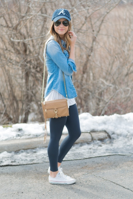 With white long t-shirt, leggings, denim shirt, white sneakers and brown bag