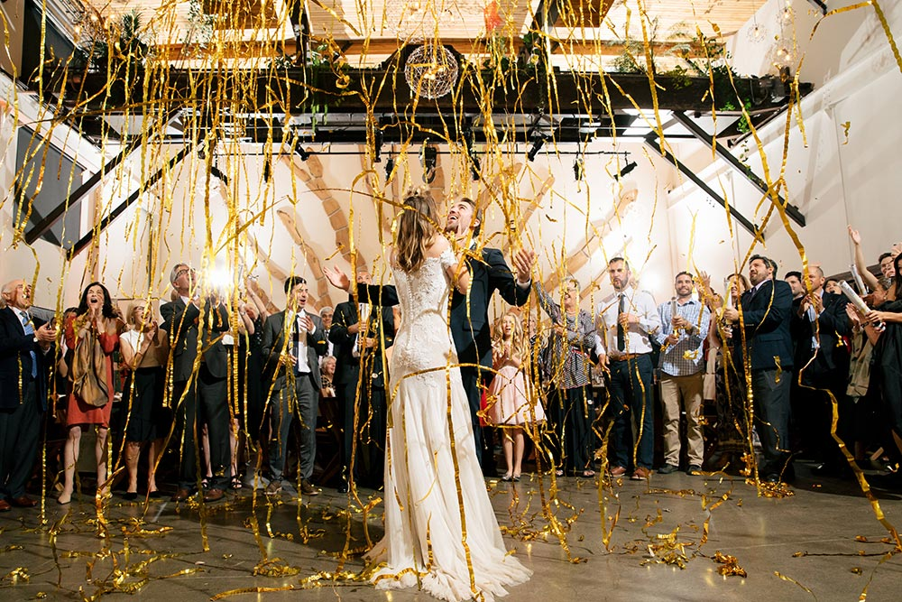 wedding dance floor gold streamers first dance