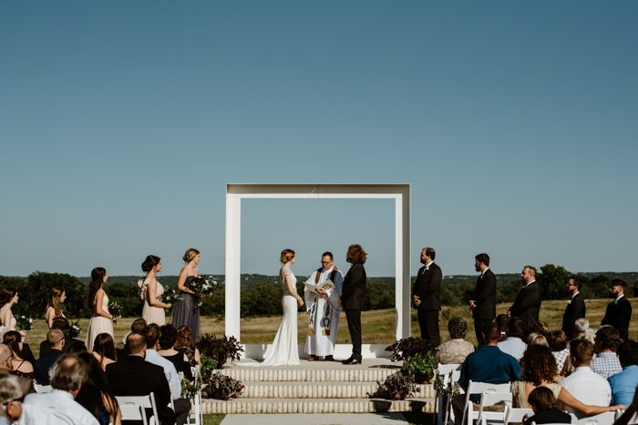 This minimalist wedding was spruced up with glam and country chic touches