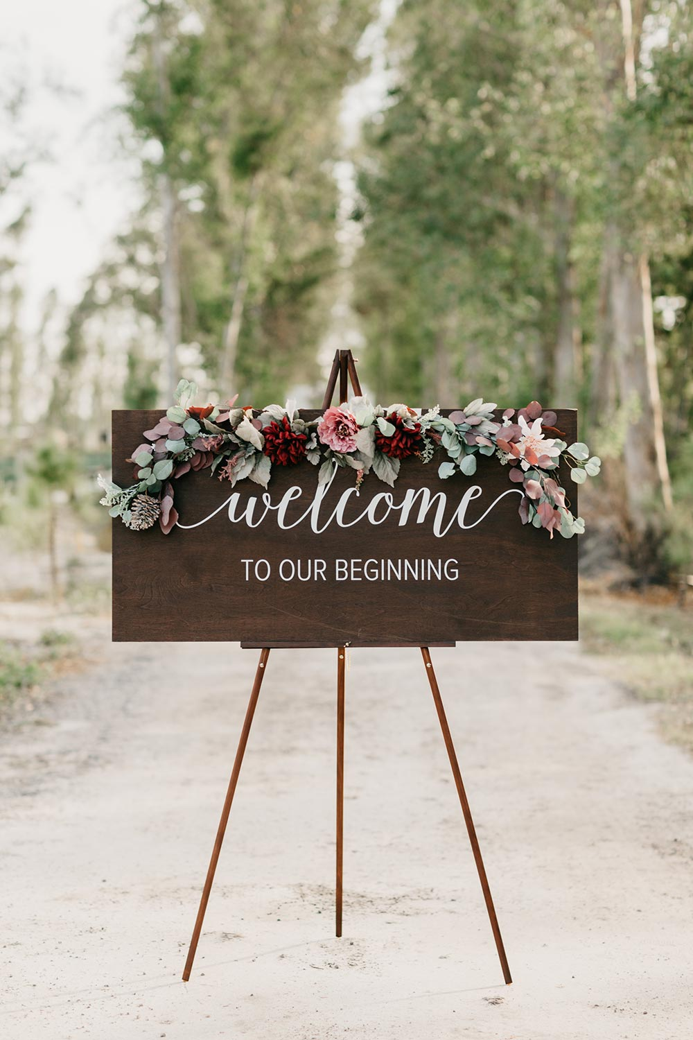 winter wedding welcome signage