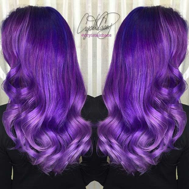 Melted Purple and Lavender Hair Color Idea
