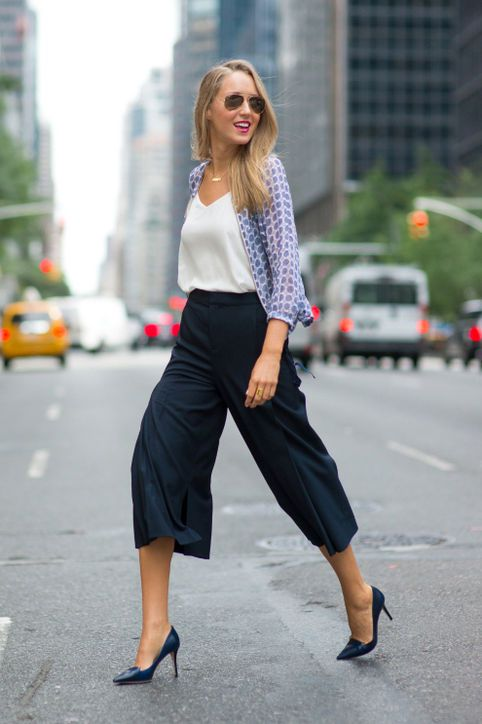 navy culottes, navy heels, a white top and a blue printed shirt over it