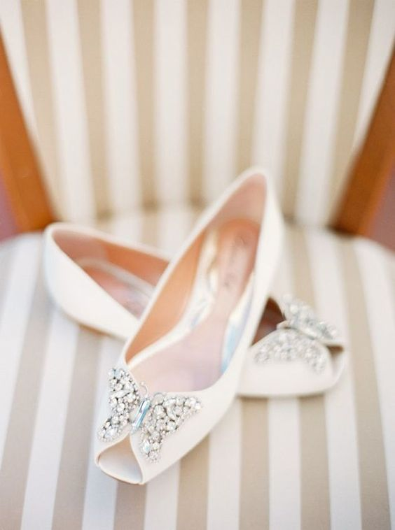peep toe creamy flats with embellished butterflies for a romantic bride
