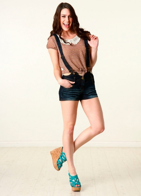 With blouse and platform sandals