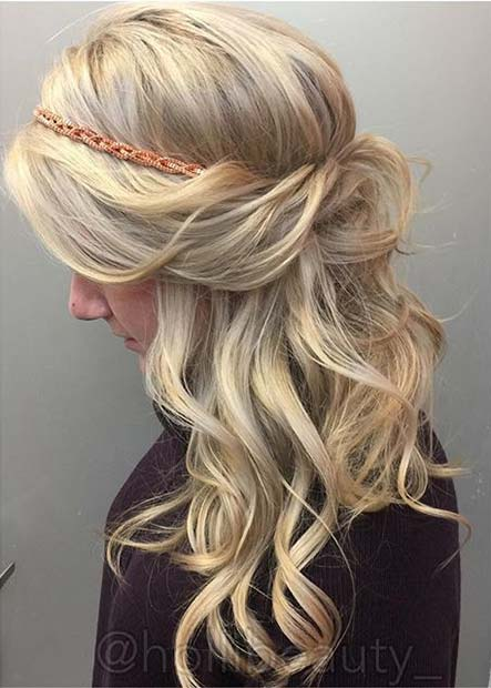 Boho Half Up Headband Wedding Hair Idea