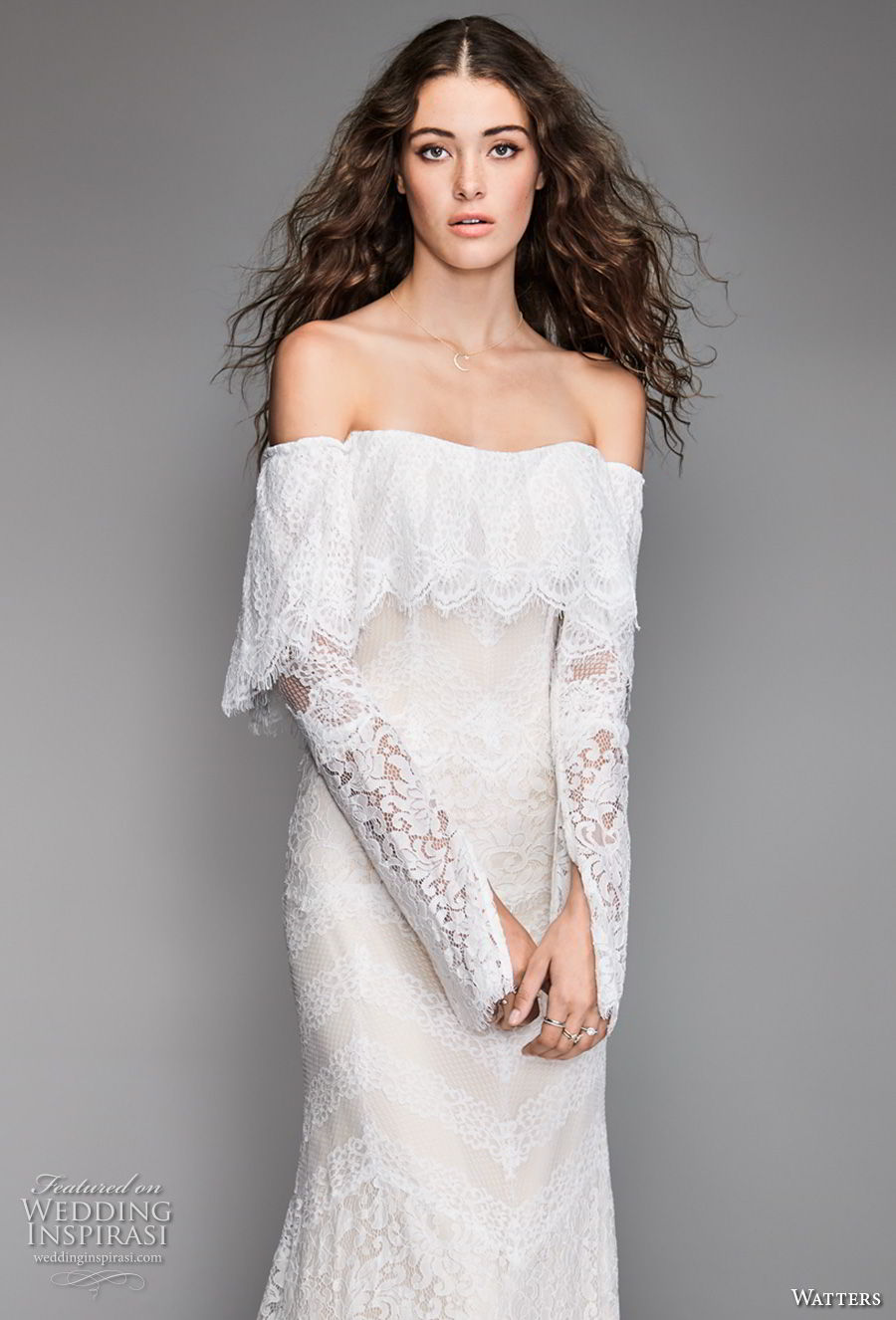 willow by watters spring 2018 long sleeves off the shoulder straight across neckline heavily embellished bodice bohemian fit and flare wedding dress sweep train (12) zv