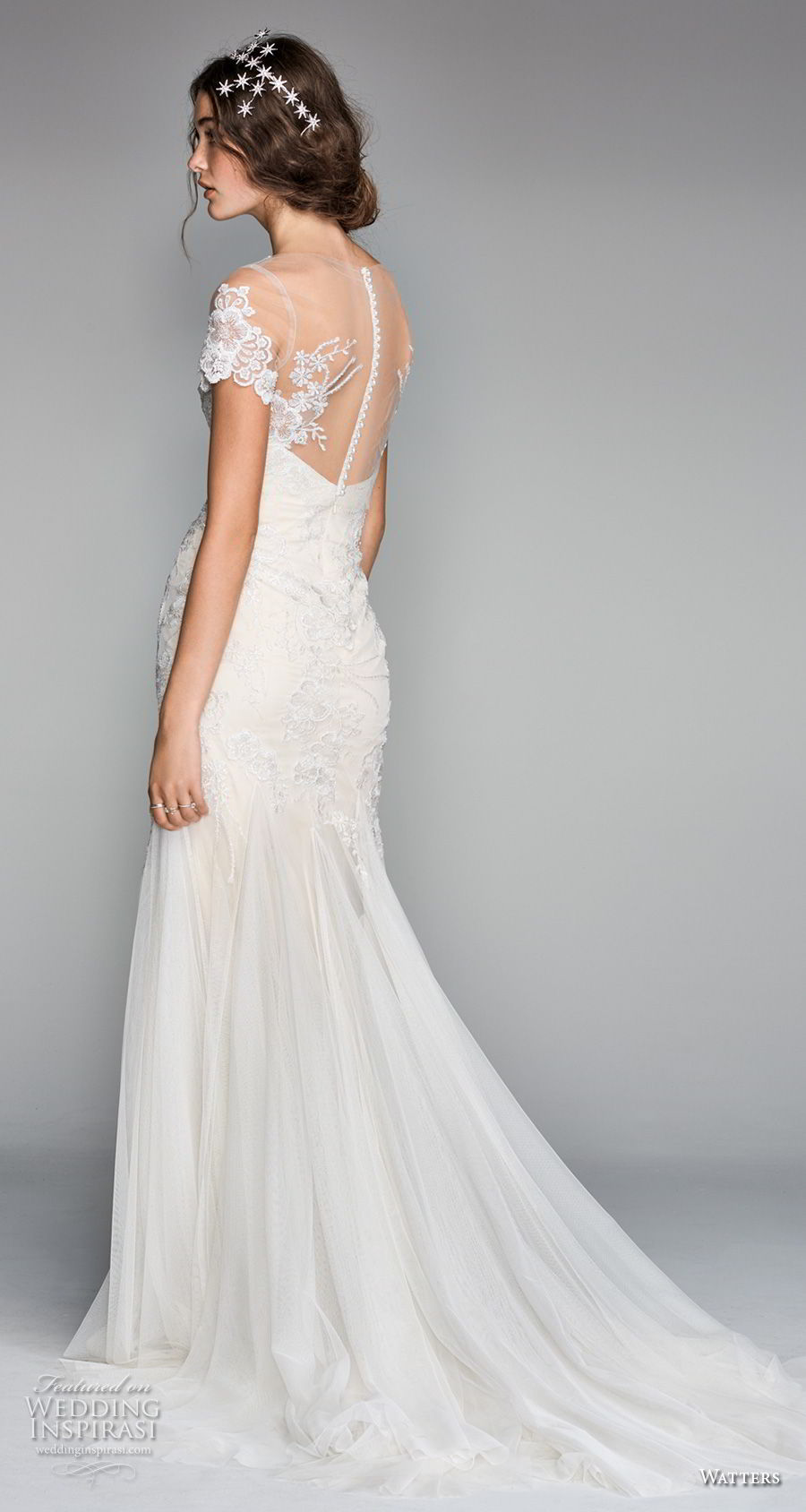willow by watters spring 2018 short sleeves sheer bateau sweetheart neckline heavily embellished bodice romantic elegant fit and flare wedding dress sheer button back chapel train (10) bv