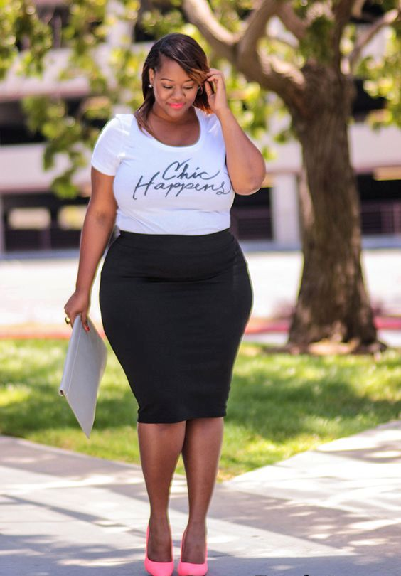 a black knee pencil skirt, a white printed tee, pink shoes and a white clutch for a casual look