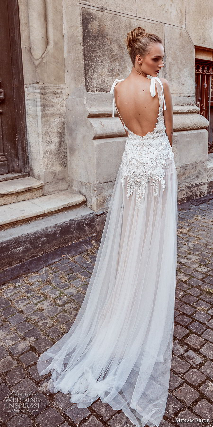 miriams bride 2018 bridal sleeveless v neck heavily embellished bodice romantic soft a line wedding dress open back sweep train (8) bv