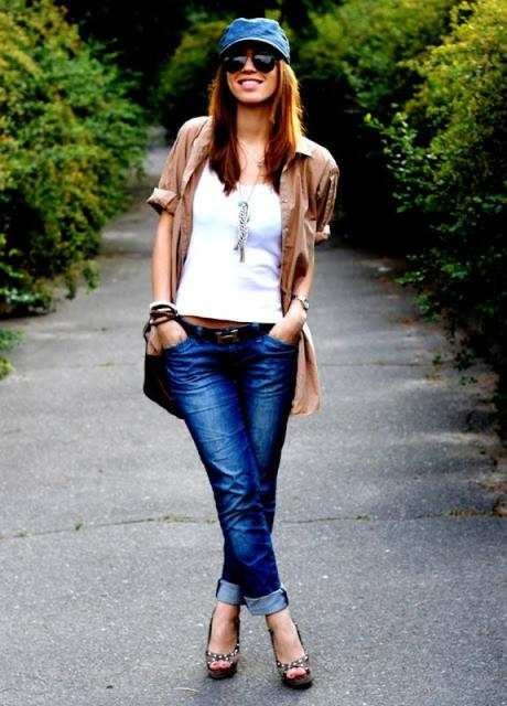 With white top, cuffed jeans, platform sandals and light brown shirt