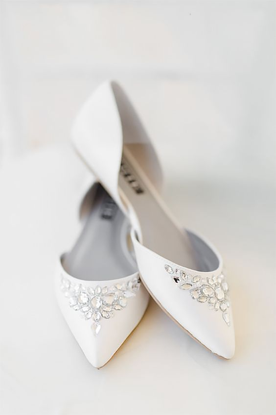 elegant white wedding shoes with rhinestones are a fresh take on traditional ones