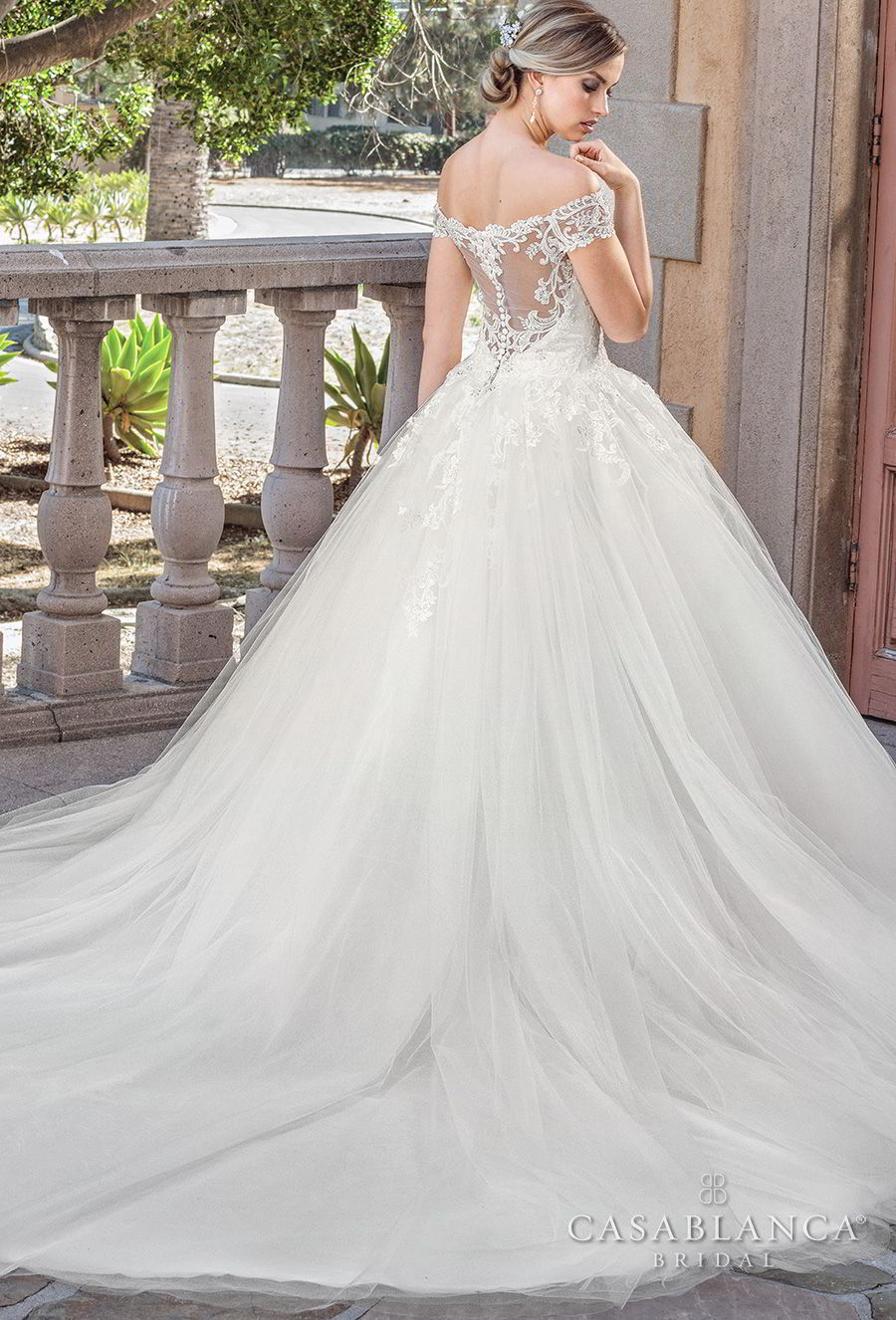 casablanca spring 2018 off the shoulder sweetheart neckline heavily embellished bodice princess ball gown wedding dress sheer lace back chapel train (gracie) bv
