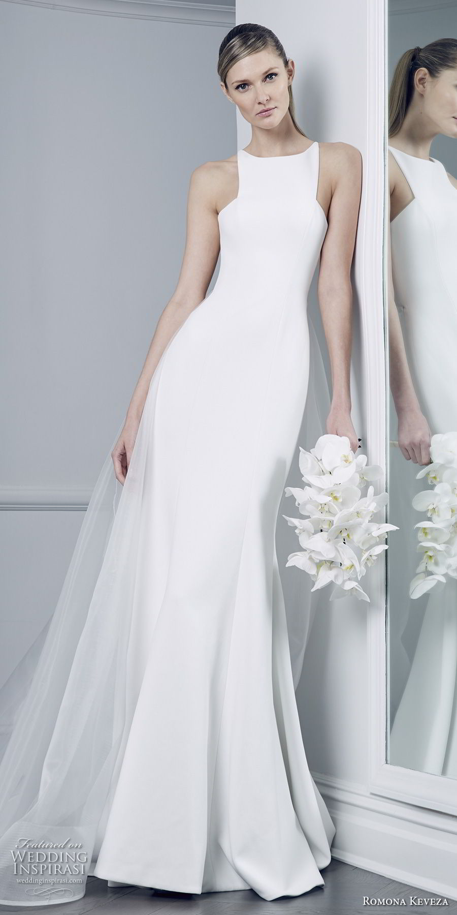 romona keveza fall 2018 bridal sleeveless halter jewel neck simple clean elegant chic fit and flare wedding dress chapel train (6) mv