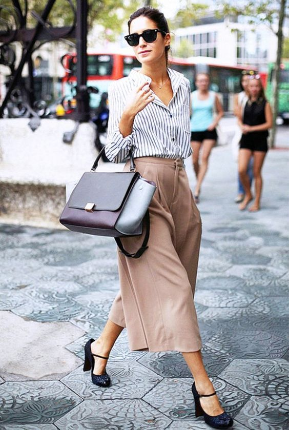 blush culottes, a striped shirt, black vintage-inspired shoes and a color block bag