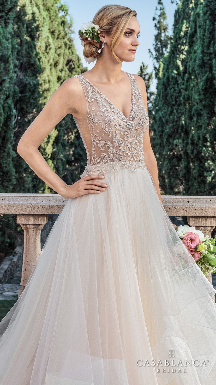 casablanca spring 2018 sleeveless v neck heavily embellished bodice side open layerd skirt romantic a line wedding dress open v back medium train (tori) zv