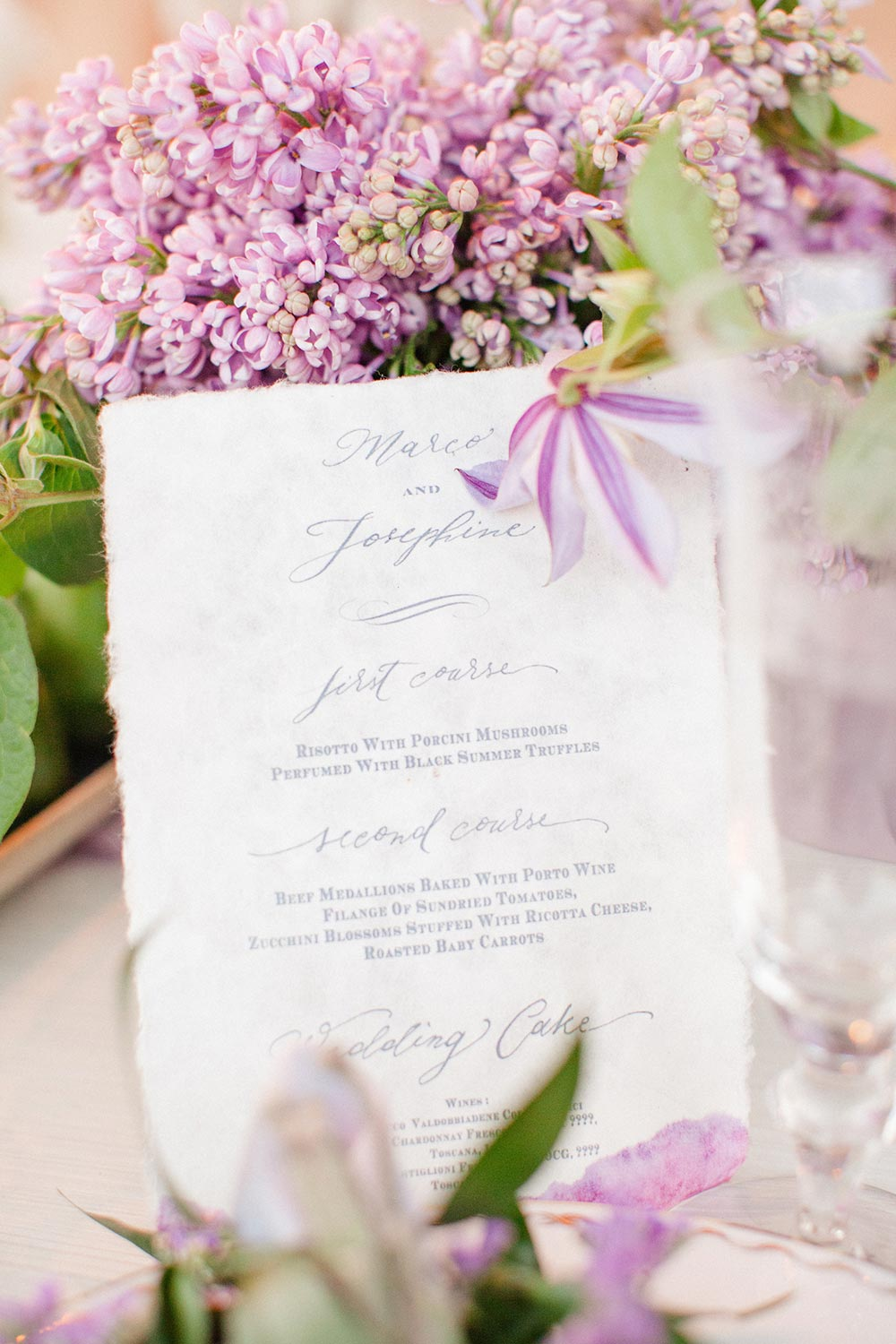 papyrus wedding menu