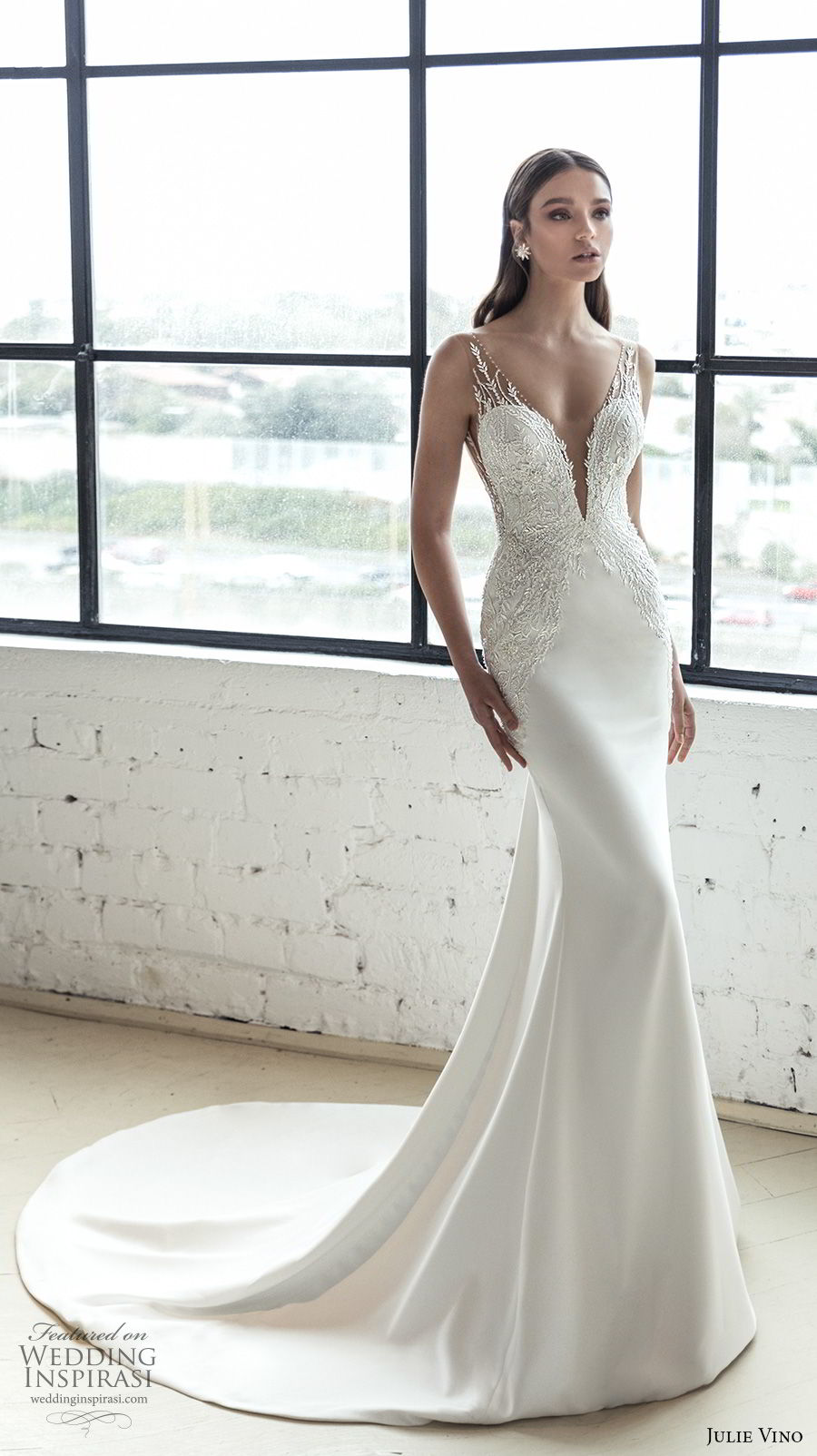 julie vino 2019 romanzo bridal sleeveless deep plunging sweetheart neckline heavily embellished bodice romantic fit and flare wedding dress low v back chapel train (8) mv