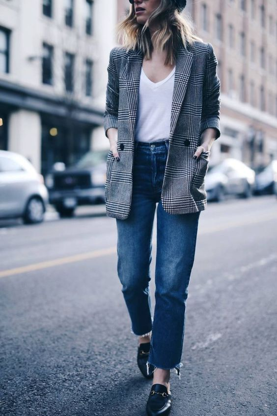 a tweed jacket, jeans, a white t-shirt, loafers is a great casual look