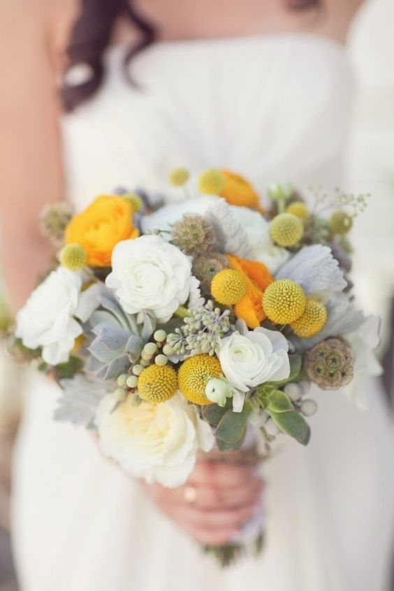 a tender bridal bouquet with billy balls and pale succulents is a chic idea