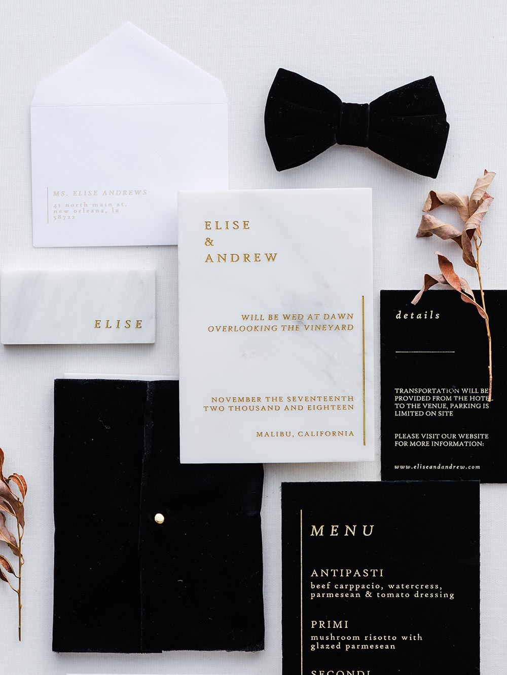 modern black wedding invitations with marble details