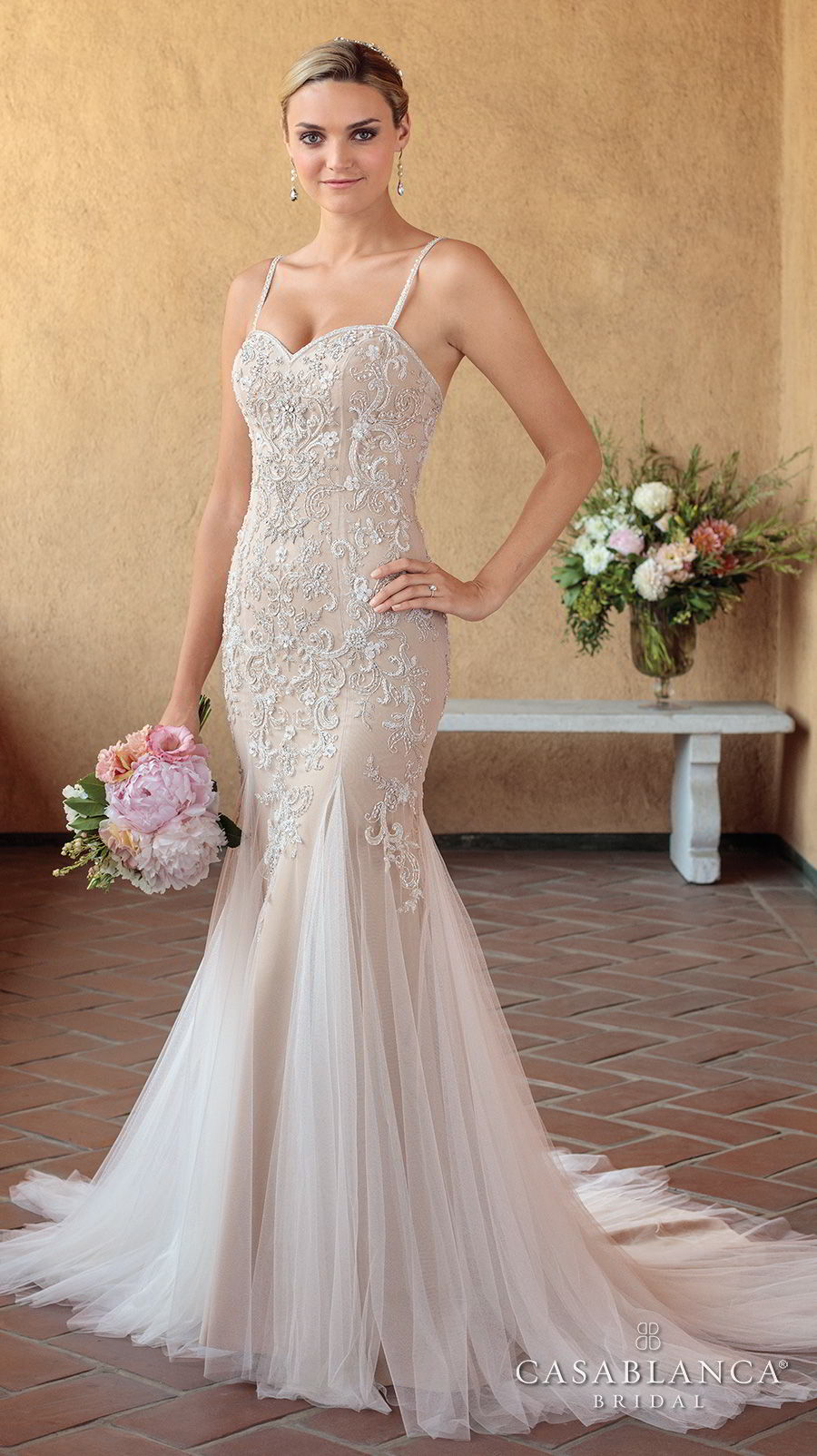 casablanca spring 2018 thin strap sweetheart neckline heavily embellished bodice elegant mermaid wedding dress short train (pixie) mv