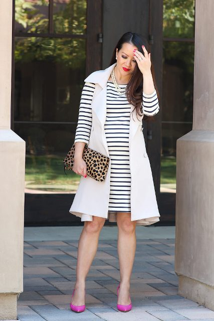 With striped dress, leopard clutch and pink pumps