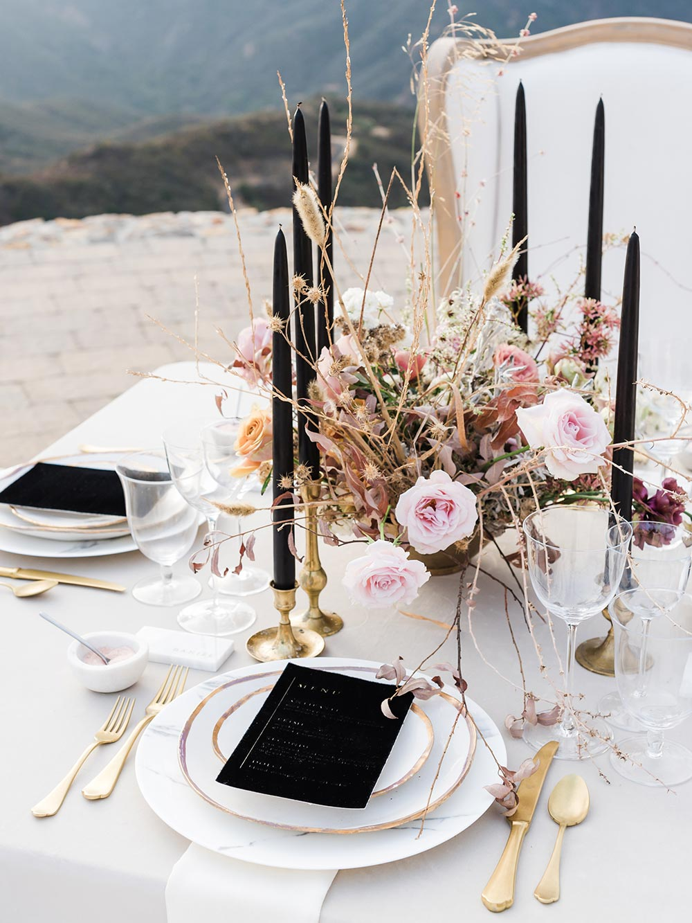 modern black and dusty rose wedding tablescape