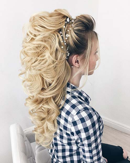 Curled Half Up Hair with Volume and Accessories for Wedding Hair Ideas