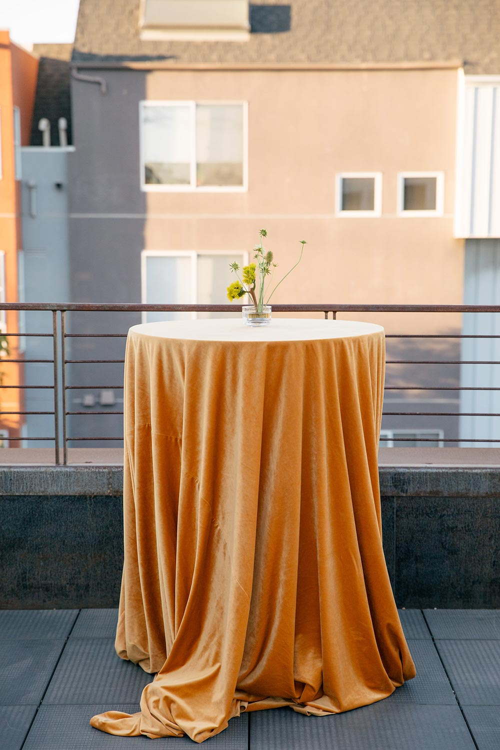 velvet mustard tablel linen rooftop ceremony high boy