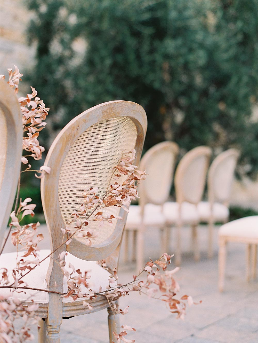 wedding ceremony with dried branches
