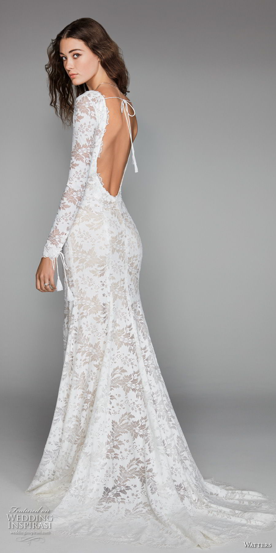 willow by watters spring 2018 long sleeves v neck full embellishment elegant fit and flare wedding dress low scoop back sweep train (4) bv