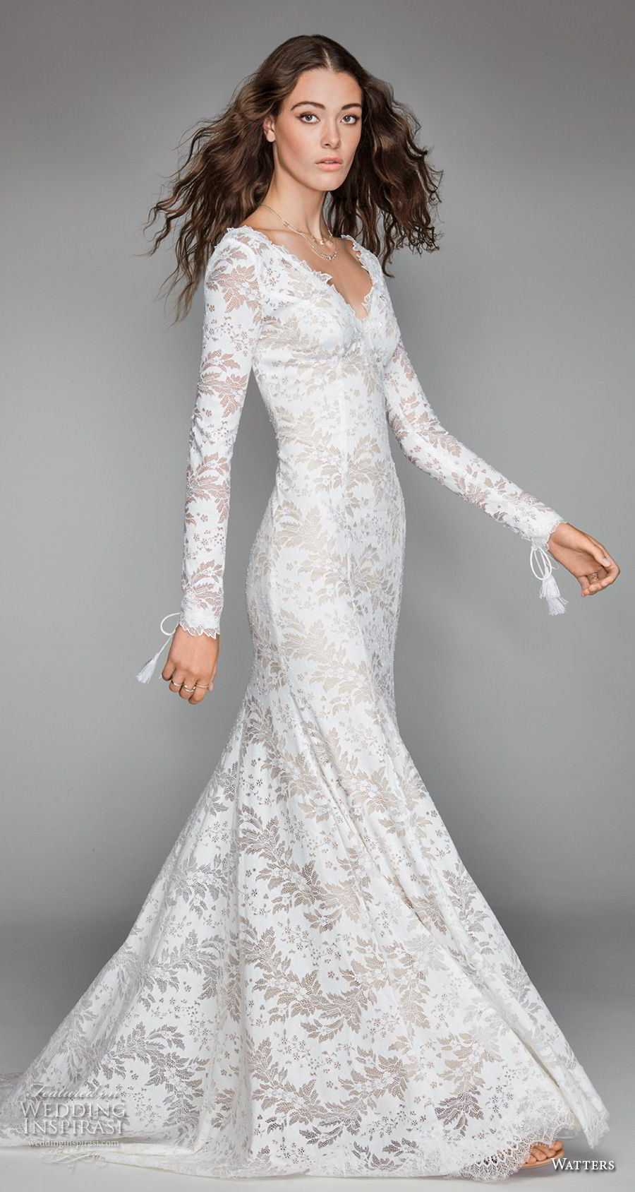 willow by watters spring 2018 long sleeves v neck full embellishment elegant fit and flare wedding dress low scoop back sweep train (4) mv