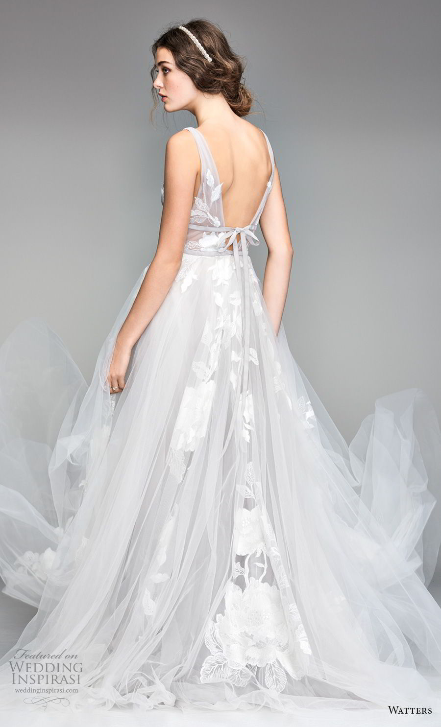 willow by watters spring 2018 sleeveless deep v neck heavily embellished bodice romantic soft a line wedding dress v back sweep train (1) bv