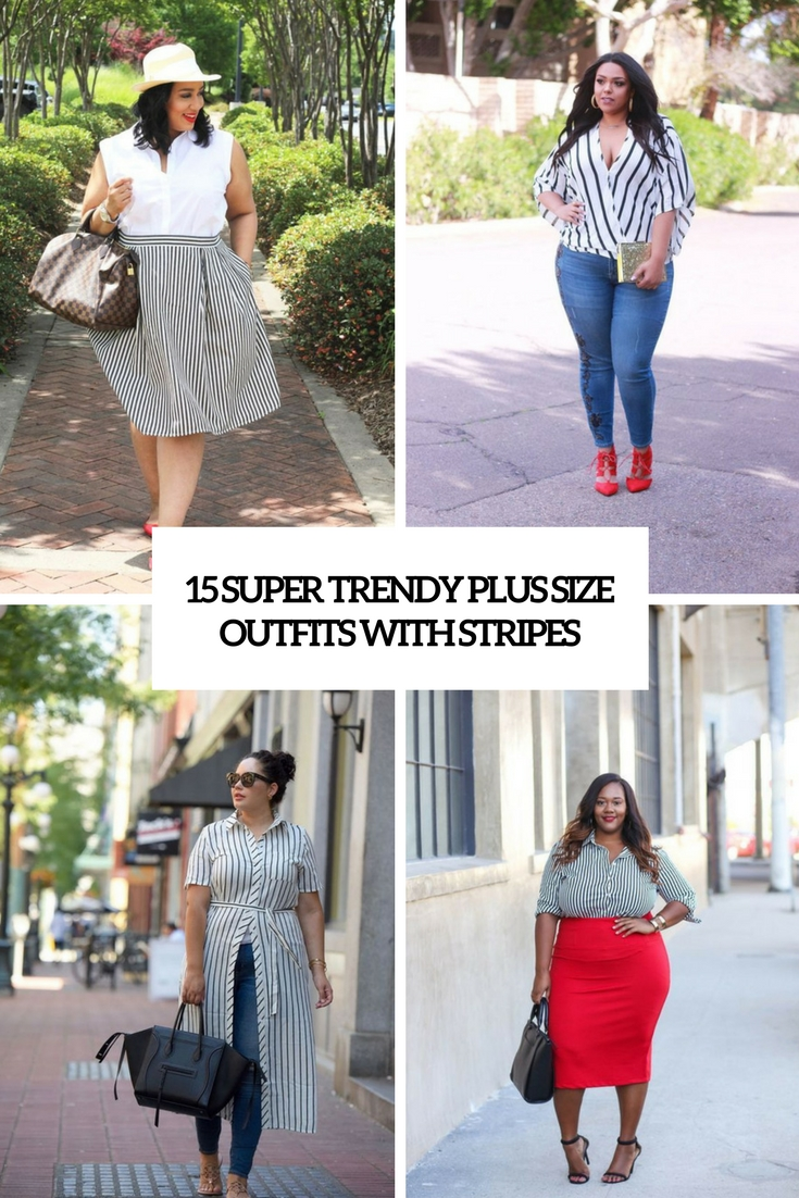 15 Super Trendy Plus Size Outfits With Stripes