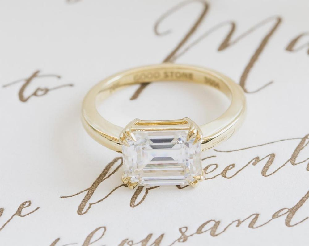 elegant emerald cut engagement ring gold band