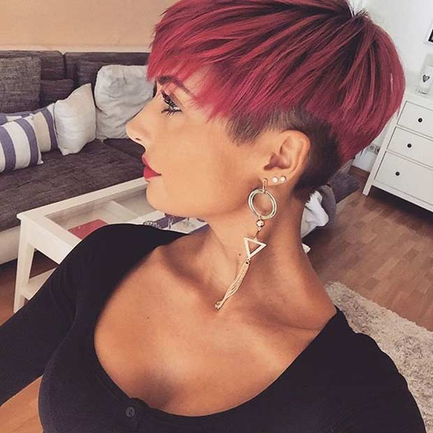 Long Red Pixie Cut with an Undercut