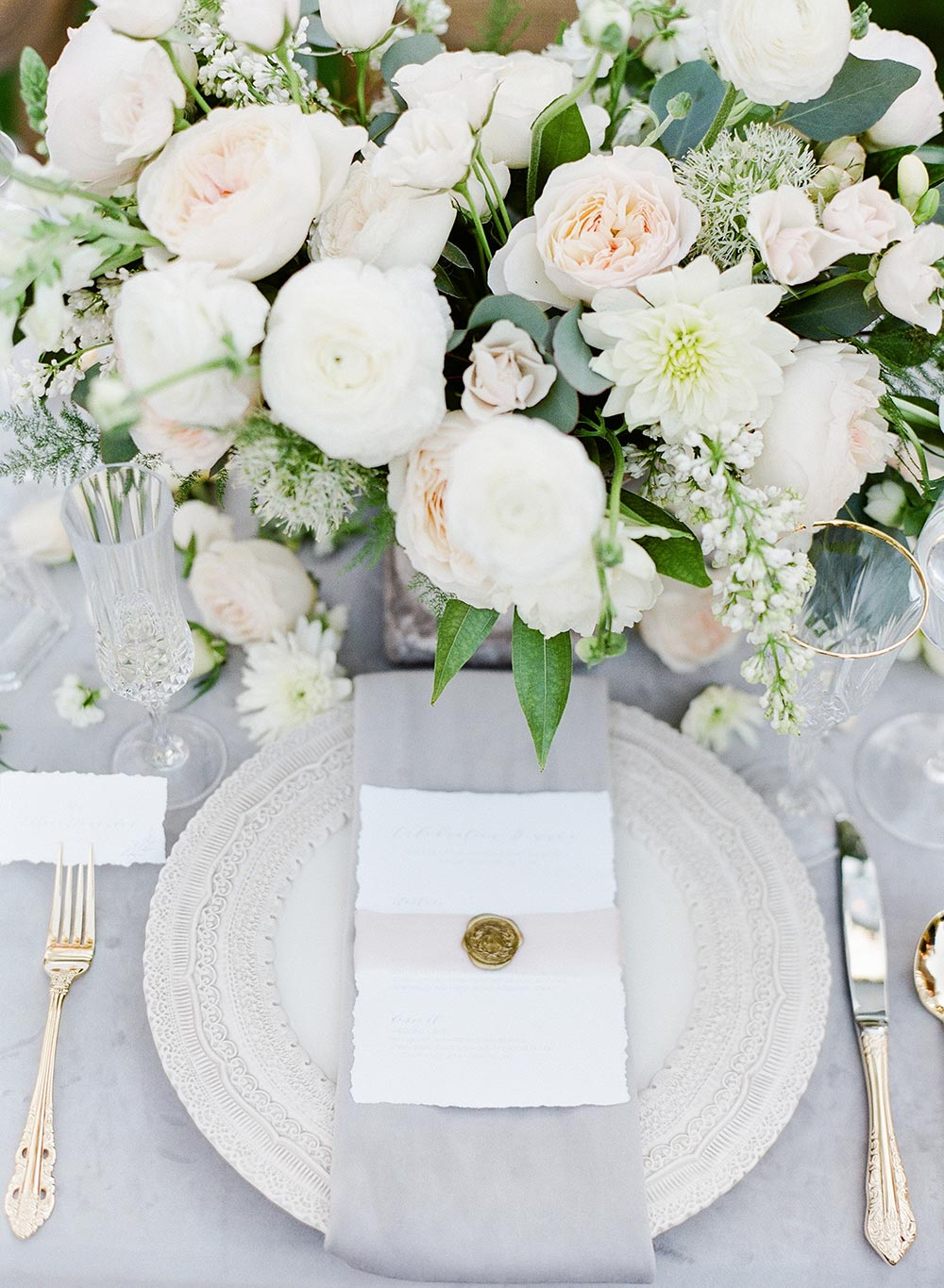 romantic wedding place setting pink and grey with gold wax seal