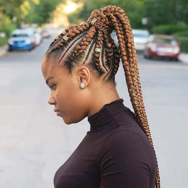 Braided Ponytail with Color