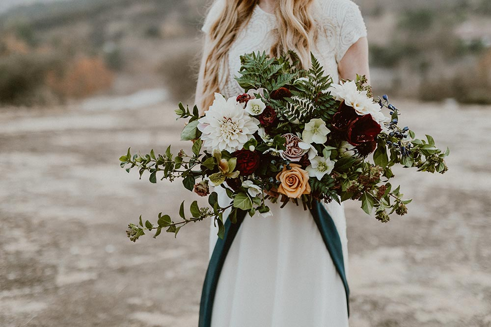 winter boho bridal bouquet
