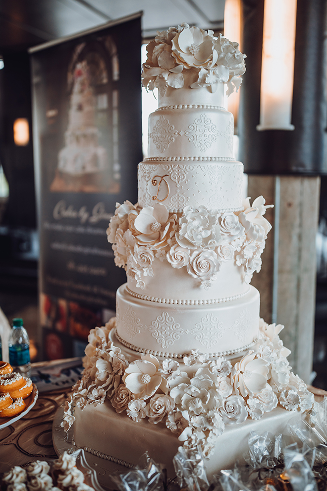 White Layered Wedding Cake with floral detailing