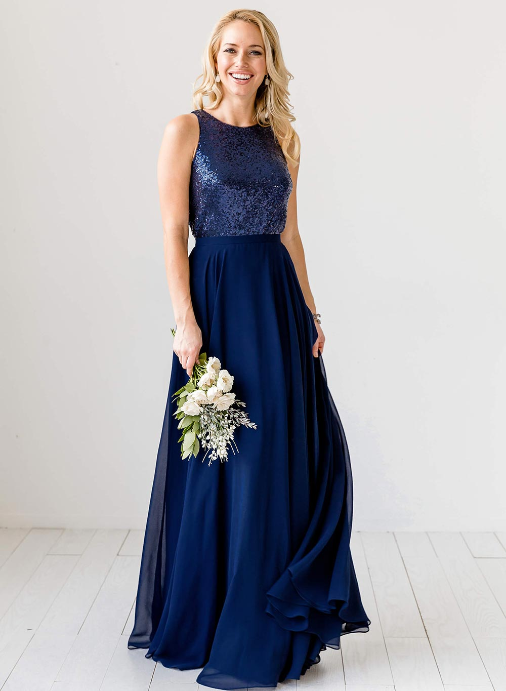 long navy sequined bridesmaid dress