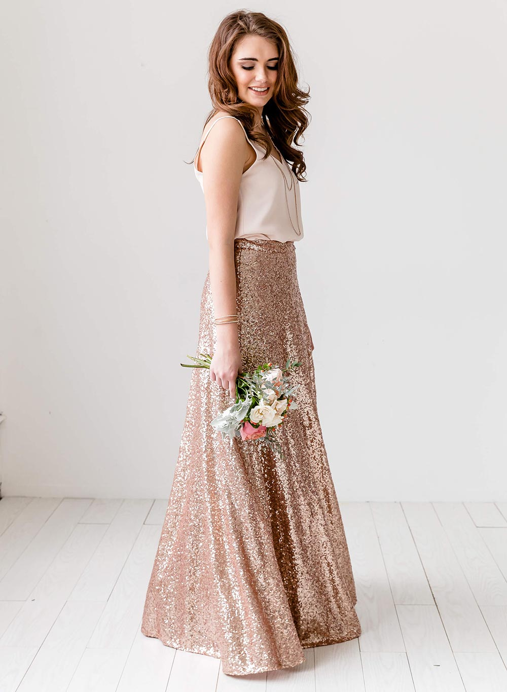 rose gold sequined maxi skirt bridesmaid fashion