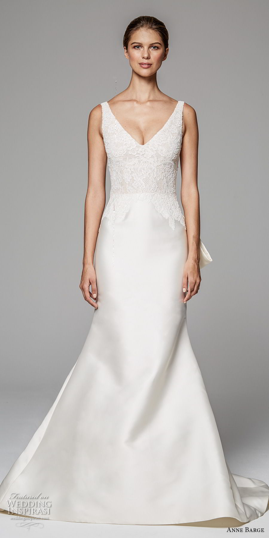 anne barge fall 2018 bridal sleeveless v neck heavily embellished bodice satin skirt elegant trumpet wedding dress v back chapel train (11) mv