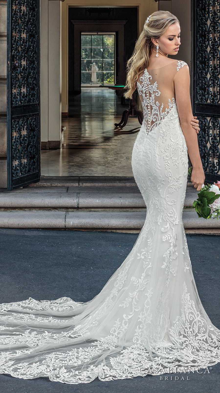 casablanca spring 2018 sleeveless strap plunging sweetheart neckline full embellishment elegant fit and flare wedding dress lace button back chapel train (kinsley) bv