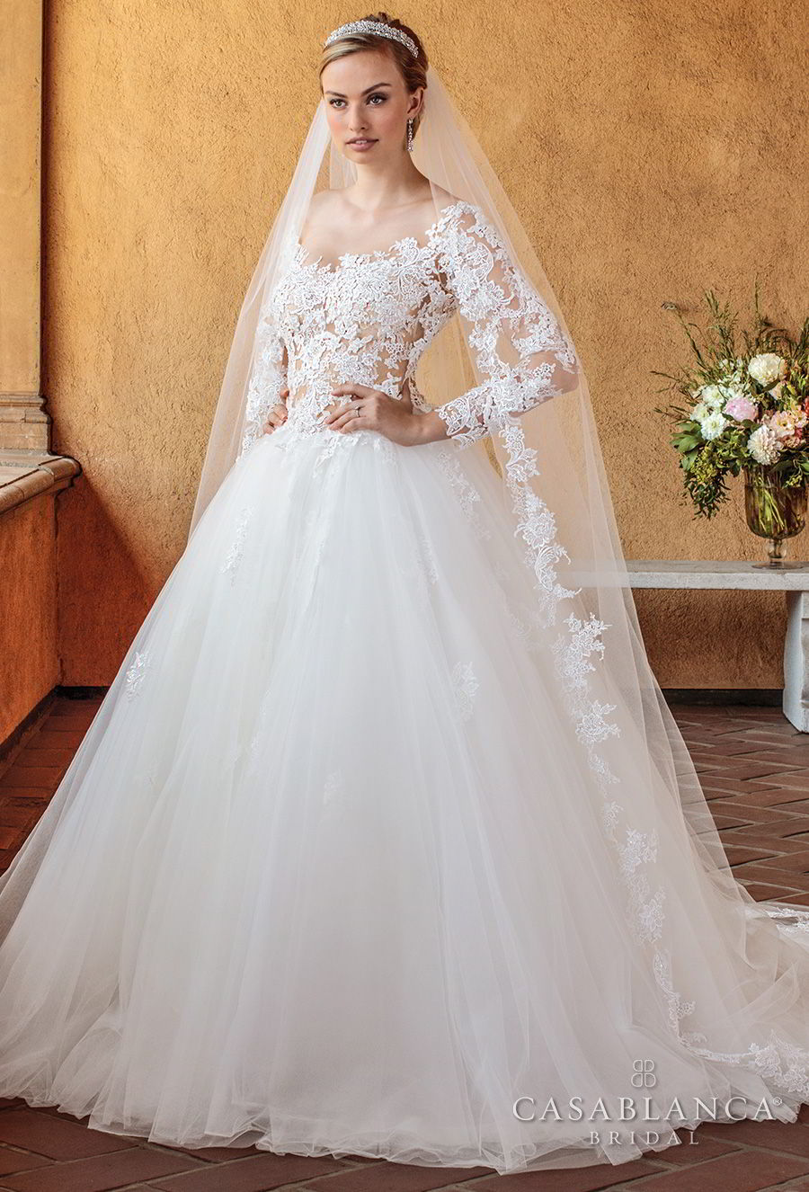 casablanca spring 2018 long sleeves scoop neckline heavily embellished bodice romantic ball gown a line wedding dress open scoop back chapel train (elsie) mv