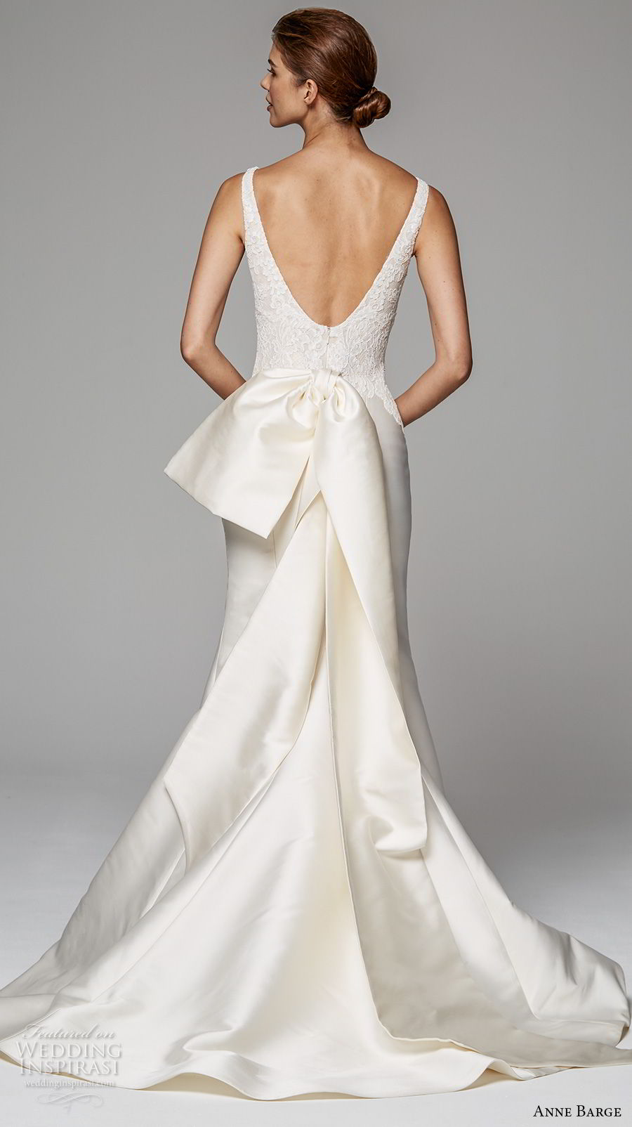 anne barge fall 2018 bridal sleeveless v neck heavily embellished bodice satin skirt elegant trumpet wedding dress v back chapel train (11) bv