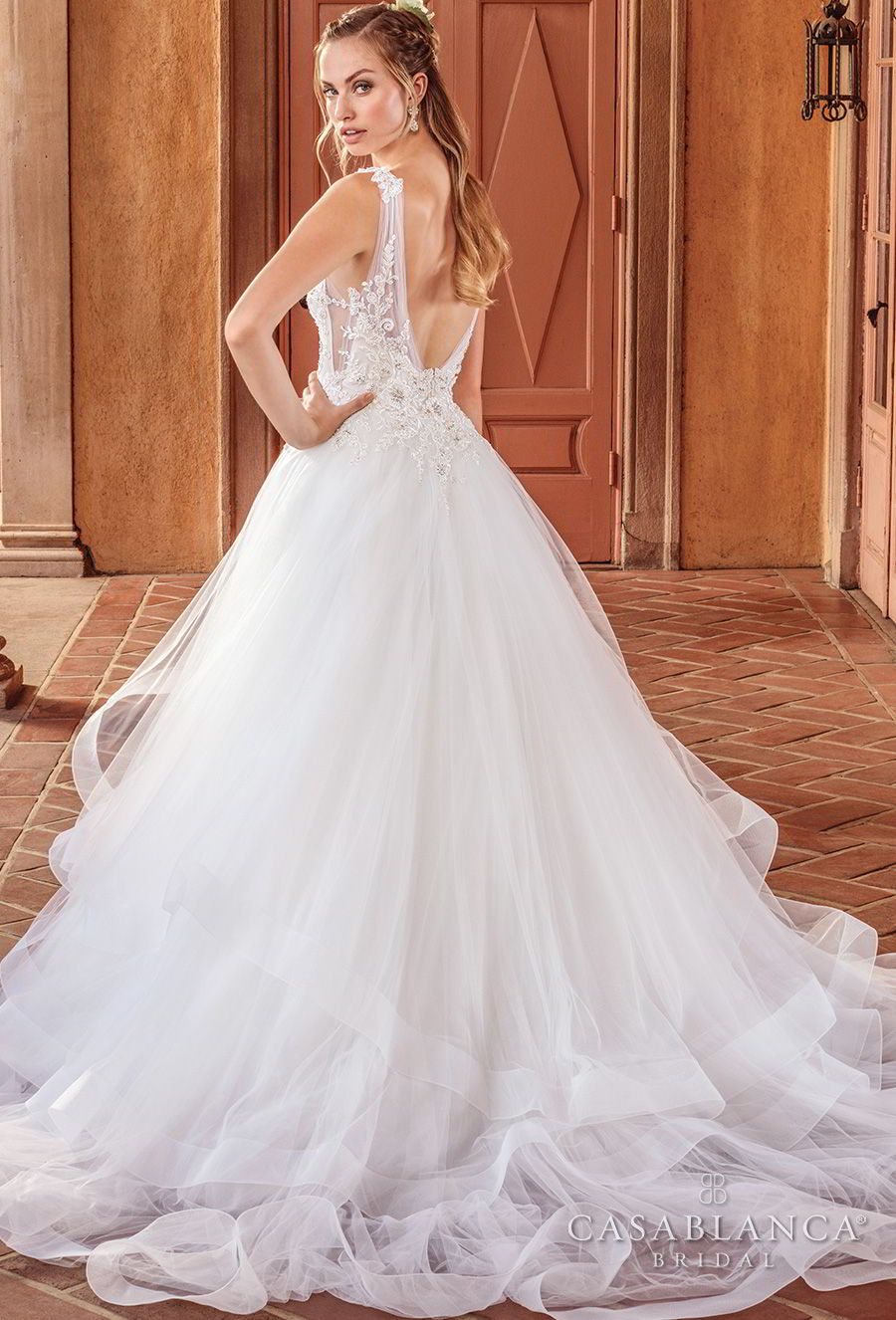 casablanca spring 2018 sleeveless strap v neck heavily embellished bodice layered skirt romantic a line wedding dress open scoop back chapel train (birdie) bv