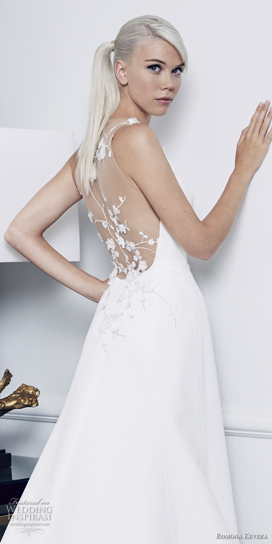 romona keveza fall 2018 bridal sleeveless simple clean elegant a line wedding dress sheer lace back chapel train (5) zbv